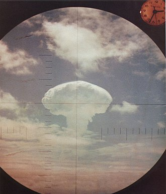 Containment - A 1962 nuclear explosion as seen through the periscope of a U.S. Navy submarine. The goal of containment was to 'contain' communism without a nuclear war.