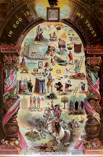 Orange Order - Orange Order poster depicting historical and religious symbols.