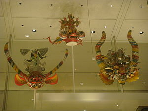 Oruro Diablada - Different models of Diablada masks in an exhibition in the British Museum.