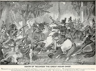 Battle of the Thames - Depiction of Col Richard Mentor Johnson shooting Tecumseh during the battle