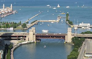 Chicago Harbor Lock - View towards lock from one of Chicago's high-rises, with the Outer Drive Bridge in the foreground