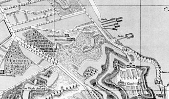 Garnisons Cemetery - Detail from old map showing the location of Garnisons Cemetery outside the Eastern City Gate