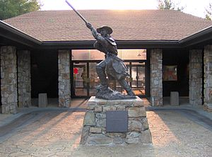 Overmountain Men - The Overmountain Man statue, by Jon-Mark Estep, at Sycamore Shoals State Historic Park, in Elizabethton, Tennessee