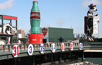 Turner Field - Retired numbers (removed prior to the 2013 season and replaced with markers along the terraces)