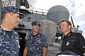 PGA Tour member Billy Hurley III, right, talks with U.S. Navy Lt. Cmdr. Tom Ogden, center, the executive officer of the guided missile destroyer USS Chung-Hoon (DDG 93), and Command Master Chief Chris Detjie 140108-D-PJ759-057.jpg