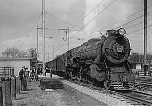 Pennsylvania Railroad class K4s - A K4s-hauled train pauses at Aberdeen, Maryland on 1944-04-26. This is the classic prewar K4s configuration.