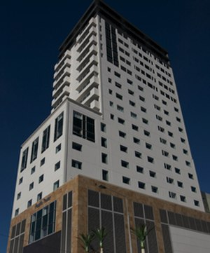 Pacific Tower, Christchurch - Christchurch's tallest building, the Pacific Tower, viewed from Gloucester Street
