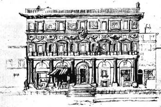 Borgo (rione of Rome) - Drawing of Palazzo Branconio dell'Aquila, demolished in the 17th century to open the new piazza Rusticucci, so called after the eponymous palace.