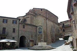 Panicale - Backside of the Church of San Michele Archangelo on Piazza Umberto I, the main square of Panicale