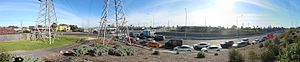M80 Ring Road, Melbourne - A panorama of the M80 Western ring road eastern off ramp at Sydney Road in Fawkner, Melbourne