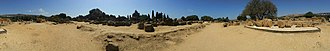 Temple of Olympian Zeus, Agrigento - Panorama Remains of one original atlas in the Olympieion field