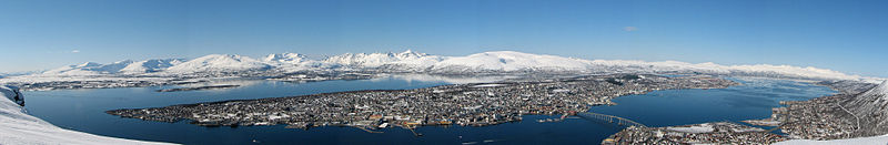 Panoramic view of Tromsø from Fjellheisen.
