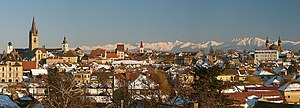 Panoramic view of the medieval city of Sibiu, ...