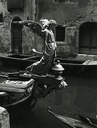 Destroying angel (Bible) - The Angel of Death, sculpture of a funeral gondola, Venice. Photo by Paolo Monti, 1951.