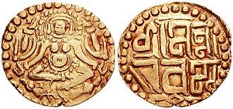 Naravarman - Coin of Naravarman. Goddess Lakshmi seated facing / Devanagari legend.
