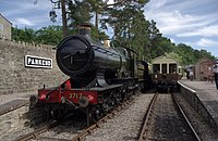 "Parkend railway station MMB 10 3717 ""City of Truro"".jpg"
