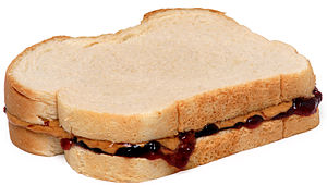 English: A peanut butter and jelly sandwich, m...
