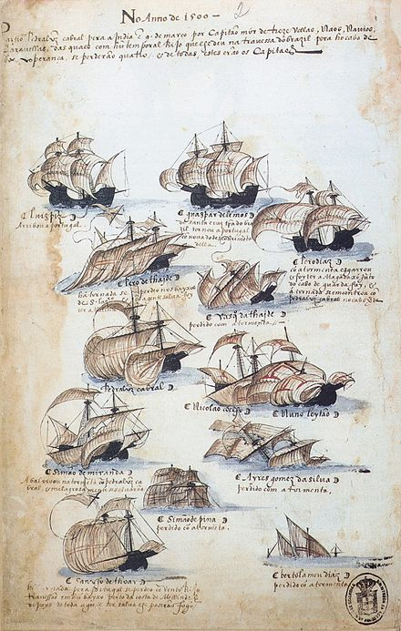 Twelve of 13 ships that were part of Cabral's fleet are depicted. Many were lost, as can be seen in this drawing from Memoria das Armadas, c.1568 Pedro Alvares Cabral fleet.jpg