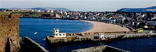 Peel is the island's main fishing port. Peel - Peel Bay Beach - geograph.org.uk - 1719663.jpg