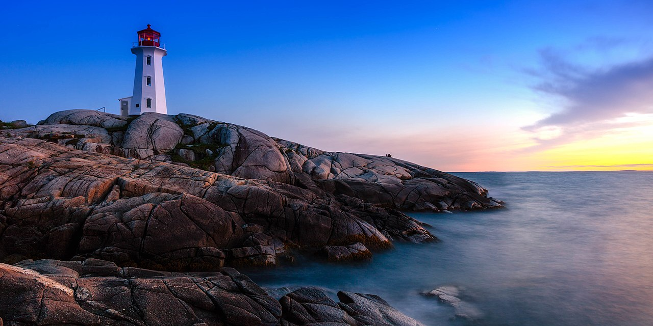 Peggy's Cove and the lighthouse at sunset