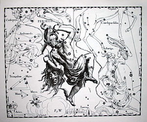 Star catalogue - An illustration of the constellation Perseus (after Perseus from Greek mythology) from the star catalogue published by the German astronomer Johannes Hevelius in 1690