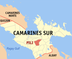 Map of Camarines Sur with Pili highlighted