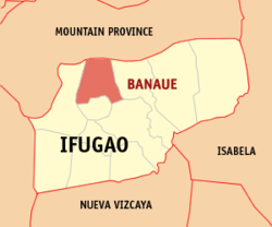 Map of Ifugao showing the location of Banaue