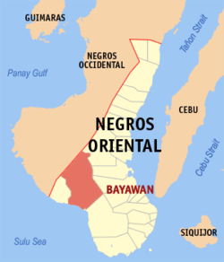 Map of Negros Oriental showing the location of Bayawan