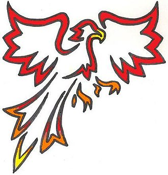 Northside Health Careers High School - The Phoenix represented in a drawing.
