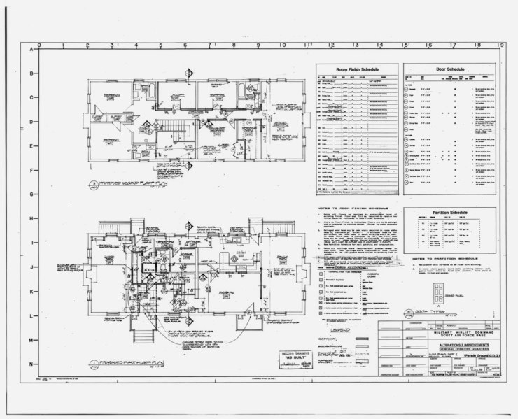 File:Photographic copy of original remodeling drawings dated July 8, 1988 (original sepia in plan room of Base Civil Engineer, Scott AFB) First and second floor plans - Scott Air HAER ILL,82-OFAL,1-17.tif