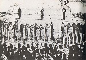 Photography of Execution of Maximilian I of Mexico, Miramón and Mejía — 1867.jpg