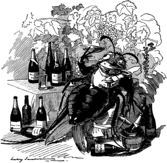 Great French Wine Blight - A cartoon from Punch from 1890: The phylloxera, a true gourmet, finds out the best vineyards and attaches itself to the best wines.