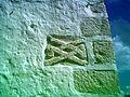 Piedras con glifos en la iglesia de Chablekal, Yucatán (01).JPG