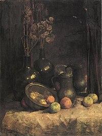 Piet Mondriaan - Still life with mirror, containers, honesty and fruit - A264 - Piet Mondrian, catalogue raisonné.jpg