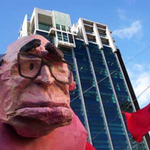 Socialist Alternative (Australia) - Members of Socialist Alternative assisted in the construction of this effigy of former Prime Minister John Howard, made by the Victorian College of the Arts Student Union. The building in the background is RMIT University which was occupied during a demonstration against education cuts in 2005.