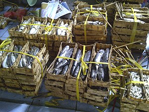 Pindang - Bamboo-packed mackerel pindang sold in traditional market.
