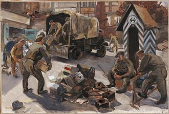 Stella Schmolle - Pioneers Clearing Out an SS HQ Brussels - October 1944 (Art.IWM ART LD 4993)