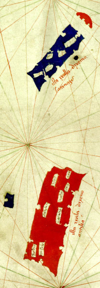Antillia - 1424 map of Zuane Pizzigano, first clear depiction of Antillia(large red rectangle), Ymana (future Royllo, small blue island to the west), Satanazes (large blue rectangle to the north) and Saya (future Damnar, umbrella-shaped red isle far north)