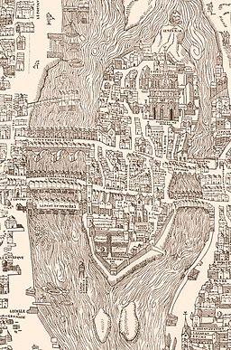 Plan de Bâle 1552 - Extrait île de la Cité