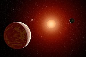 Wolf 1061c - Artist's impression of the planetary system around Wolf 1061.