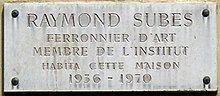 Plaque Raymond Subes, 22 rue Las Cases, Paris 7.jpg
