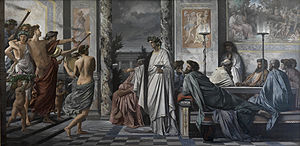 Symposium (Plato) -   Plato's Symposium, depiction by  Anselm Feuerbach