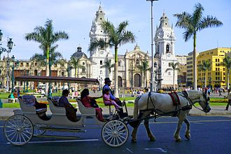Historic Centre of Lima - The Cathedral of Lima located in the main square of the historic center