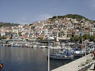 Plomari - View of the port.