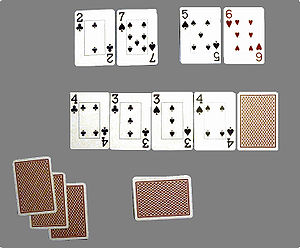 Obwohl Spieler 1 die derzeit besseren Karten hält (zwei Paare mit einer 7 als Kicker), hat er ohne zu bluffen keine Chance, die Hand zu gewinnen. Mit einer 2 oder 7 macht Spieler 2 eine Straße, 5 oder 6 führen zu zwei höheren Paaren für Spieler 2 und alle anderen Karten würden zu einem split pot führen
