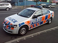 A police car in Auckland City, New Zealand.