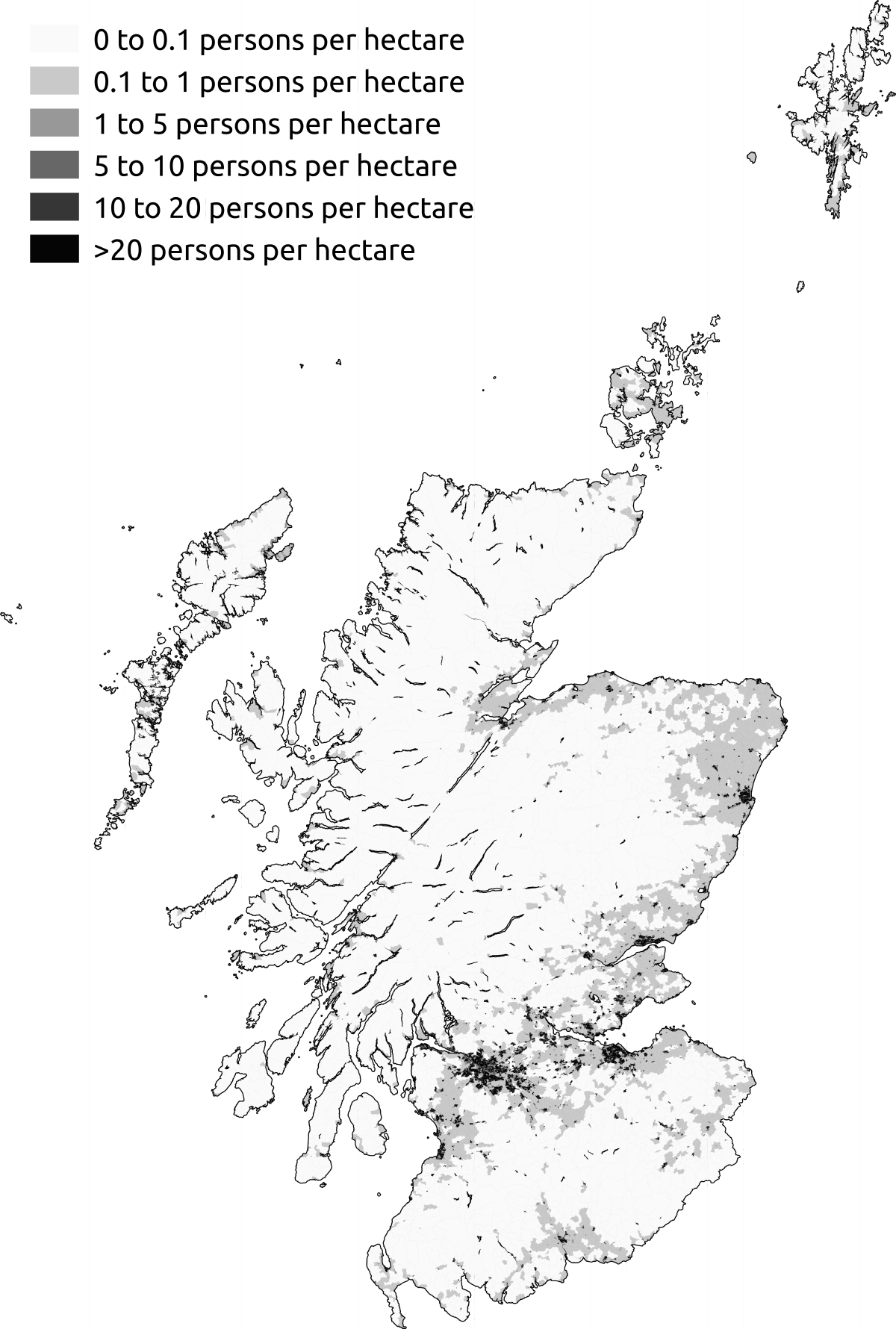 Demography Of Scotland Wikipedia - Australia population density map 2015