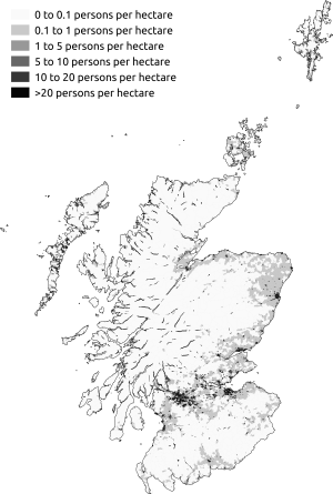 Demography of Scotland - Map of population density in Scotland at the 2011 census