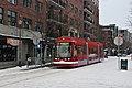 Portland Streetcar car 004 at 11th & Johnson stop during Feb 2014 snowstorm.jpg