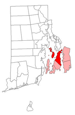 Location of Portsmouth in Newport County, Rhode Island